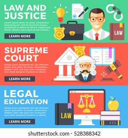 Law and justice, supreme court, legal education flat illustration concepts set. Flat design graphics elements for web banners, web sites, printed materials, infographics. Modern vector illustrations