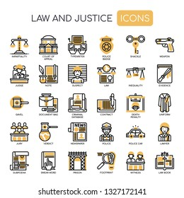 Law and Justice , Thin Line and Pixel Perfect Icons