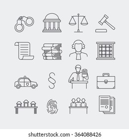Law and justice thin line vector icons. The legal system, judge, police and lawyer