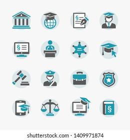 Law & Justice vector icon set