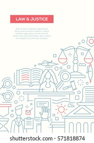 Law and Justice - vector simple line design brochure poster, flyer presentation template, A4 size layout. Court symbols