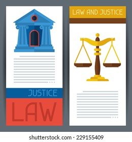 Law and justice vertical banners in flat design style.