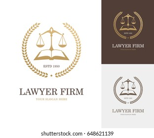 Law label with balance scale, open book and wreath in golden color. Lawyer firm, company or attorney office logo. Justice symbol or emblem design concept.