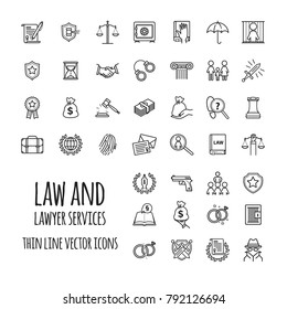 Law and lawyer services icons set for web design, mobile app, graphic design for your design