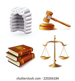 Law legal justice icons set with judge wig gavel books and scales isolated vector illustration