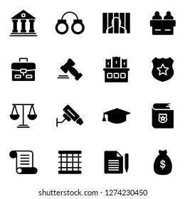 Law and legal right icons pack. Isolated law and legal right symbols collection. Graphic icons element