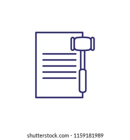 Law line icon. Gavel, document, decision, judge. Jurisdiction concept. Can be used for topics like attorney, conflict, judgment