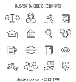 law line icons, mono vector symbols