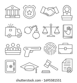 Law line icons set on white background
