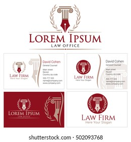 Law logo with column and wreath in golden colors. Business card design templates for law firm, company, lawyer or attorney office. Corporate Identity Logo law firm, Law Office, Lawyer services