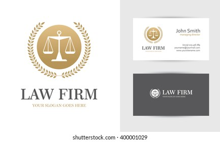 Law logo with scales and wreath in golden colors. Business card design templates for law firm, company, lawyer or attorney office