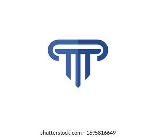 Law logo vector pillar icon