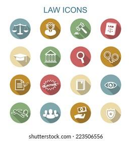 law long shadow icons, flat vector symbols