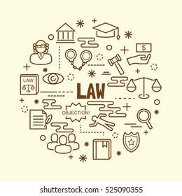 law minimal thin line icons set, vector illustration design elements