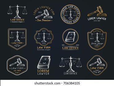 Law office hand drawn logotypes set with scales of justice, gavel etc illustrations. Vector vintage attorney, advocate labels, juridical firm badges collection. Act, principle, legal icons design.