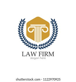 Law office logo. The judge, Law firm logo template, law school set of vintage labels. full vector badge and easy to edit able. Lawyer office emblem icon vector illustration
