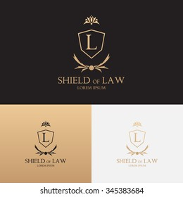 Law office logo with shield. Concept of symbol of lawyer with floral ornament. Judge label.