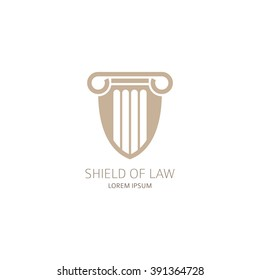 Law office logo template. Lawyer logo in the form of shield with greece column. Vector illustration.