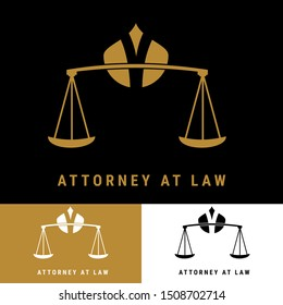 Law office logos set with scales of justice, gavel etc illustrations. Vector attorney logo, advocate labels, juridical firm badges collection. Act, principle, legal icons design.