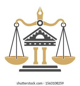 Law and order concept. protection logotype with scales of justice, courthouse and pen. flat icons for poster, web site, advertising, logo. isolated vector illustration
