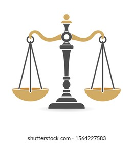 Law and order concept. protection logotype with scales of justice. flat icons for poster, web site, advertising, logo. isolated vector illustration