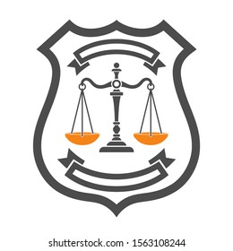 Law and order concept. protection with shield and scales of justice. flat icons for poster, web site, advertising, logo. isolated vector illustration