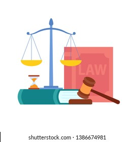 Law, Order, Court Symbols Vector Illustration. Magistrate Gavel, Scales, Cases Reports, Book. Legal Advice, Consulting Firm. Cartoon Hourglass, Wooden Judge Hammer. Jurisprudence Textbooks