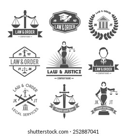 Law order and crime preventing lady justice symbols collection black graphic labels pictograms set isolated vector illustration