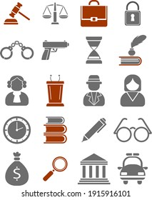 Law and order, illustration, vector on white background.
