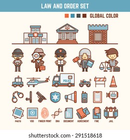 law and order infographic elements for kid including characters and icons