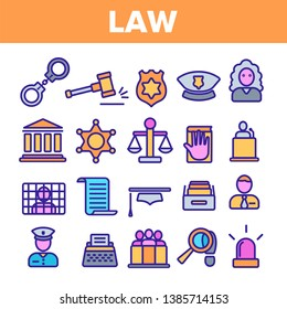 Law and Order Linear Vector Icons Set. Law, Jurisprudence Thin Line Contour Symbols Pack. Judicial System Pictograms Collection. Legal, Civil Rights. Lawyer, Judge, Courthouse Outline Illustrations
