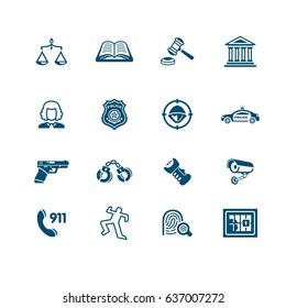 Law and order related objects and concepts icon-set
