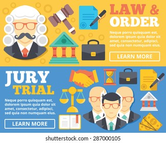 Law & order, trial by jury flat illustration concepts set. Flat design concepts for web banners, web sites, printed materials, infographics. Creative vector illustration