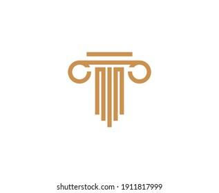 Law pillar vector icon logo
