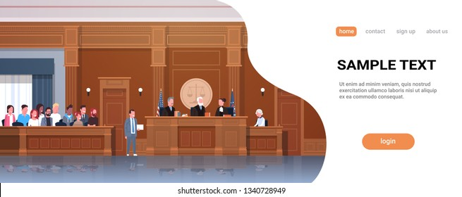 law process with judge jury suspect and lawyer or attorney giving a speech court session modern courtroom interior full length horizontal banner copy space