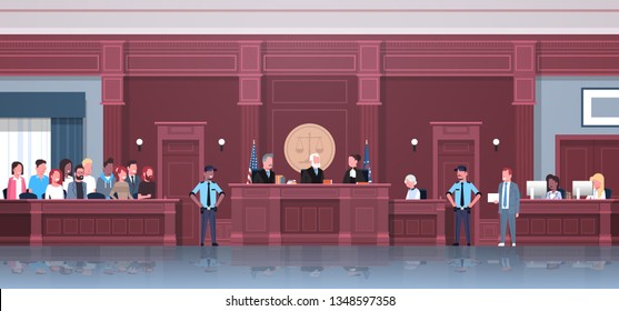 Law process with judge jury suspect and police officers lawyer or attorney giving a speech, court session modern courthouse courtroom interior, full length horizontal