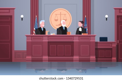 law process with judge lawyer and procurator in uniform sitting at workplace court session modern courtroom interior justice and jurisprudence concept portrait horizontal