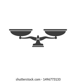 Law scale icon template color editable. justice symbol weight balance sign of law judgment punishment statue vector sign isolated on white background illustration for graphic and web design.