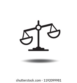 Law scale icon vector or libra flat sign symbols logo illustration isolated on white background.Concept for justice,unfairness,mobile and web apps.