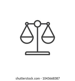 Law scale outline icon. linear style sign for mobile concept and web design. Libra simple line vector icon. Symbol, logo illustration. Pixel perfect vector graphics