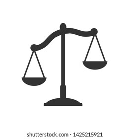 Law scale vector icon. justice symbol weight balance sign of law judgment punishment statue. Law firm logo design inspiration