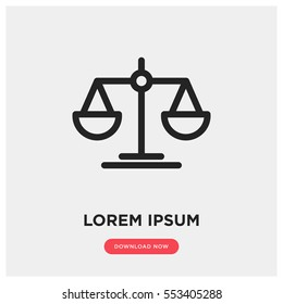 Law scale vector icon, justice symbol. Modern, simple flat vector illustration for web site or mobile app