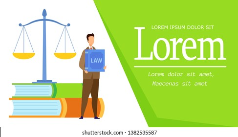 Law Science Degree Web Banner Vector Template. Administrative, Financial, Civil, Labour Law Course Flat Poster. Notarial and Executive Process, Advocacy Internship. Justice Department, Faculty