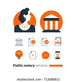 Law services and public notary concept icon set, woman. Flat design vector illustration
