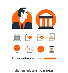 Law services and public notary concept icon set. Flat design vector illustration
