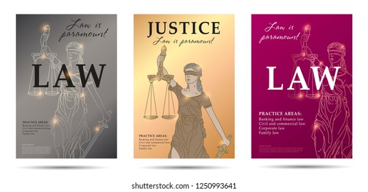 law set of posters with lady justice linear illustration and big typography, layput for print advertising