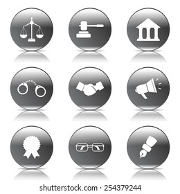 Law Sign Black Vector Button Icon Design Set
