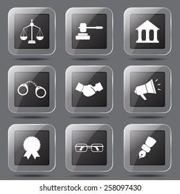 Law Sign Square Vector Black Button Icon Design Set