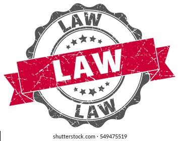 law. stamp. sticker. seal. round grunge vintage ribbon law sign