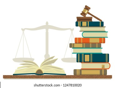 Law studies. Stack of books with glasses, open book and judge gavel on white background. Vector illustration.